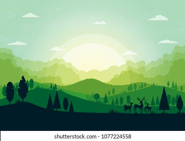 Green silhouette nature landscape with forest and mountains abstract background.Vector illustration.
