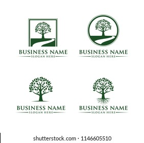 green silhouette tree vector logo design template set