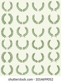 Green silhouettes of laurel wreaths, vector illustration