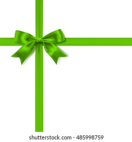 green silky bow and ribbon on white background. vector
