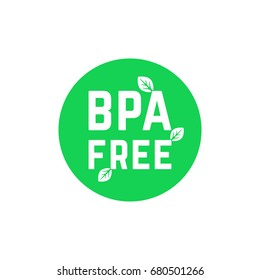 green simple bpa free logo on white. concept of emblem for packaging products or healthy emblem template. cute flat style trend modern logotype graphic art design illustration