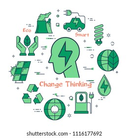 Green simple icons in round set representing idea of change thinking and eco friendly human behaviour