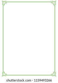 Green simple line border frame vector vintage