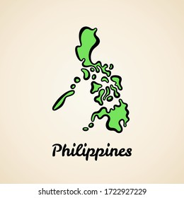 Green simplified map of Philippines with black outline.