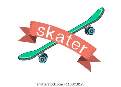 green skate and the ribbon with the inscription skater.