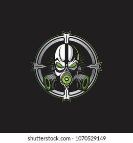 green skull with a gas mask vector logo template