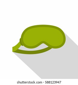 Green sleeping mask icon. Flat illustration of green sleeping mask vector icon for web isolated on white background
