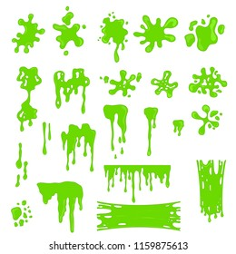 Green Slime Effects Different Types Set Drop Dirty Paint, Messy or Blob Splash. Vector illustration of Drip Liquid