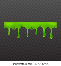 Green slime or goo spooky dripping liquid vector illustration isolated on transparent background. Border for halloween scary slime banner with stains and blobs, slimy ooze.