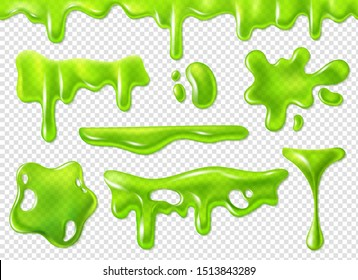Green slime. Slimy purulent blots, goo splashes and mucus smudges. Realistic halloween elements isolated vector decorative forms dripping toxic set