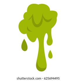 Green slime spot icon. Flat illustration of booger slime vector icon isolated on white background. Mucus sign