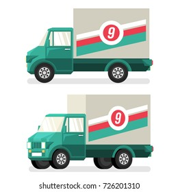 Green small truck in flat style, pseudo 3d. Detailed vector illustration - side view and half a turn.