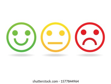 Green smile and red angry  icon isolated on white background. Emotion feedback scale symbol. Vector illustration in flat design.