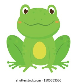 Green smiling childish frog. Cartoon style. Vector illustration