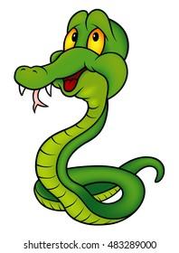 Green Smiling Snake - Colored Cartoon Illustration, Vector