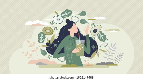Green smoothie as healthy diet cocktail for slimming tiny person concept. Vegan detox food and drink in glass as organic and vitamin full beverage from straw vector illustration. Raw ingredient blend.