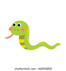 Green Snake animal cartoon character isolated on white background.