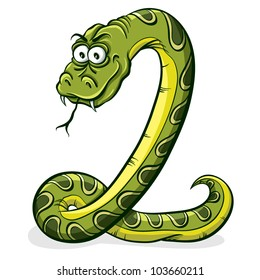 Green snake cartoon, vector.