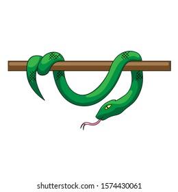 Green snake vector illustration isolated on white background