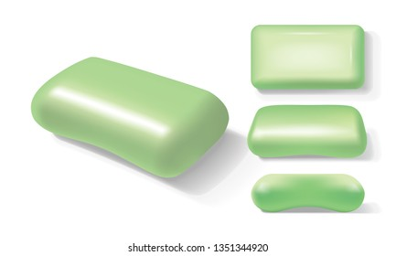 green soap from different sides on a white background vector
