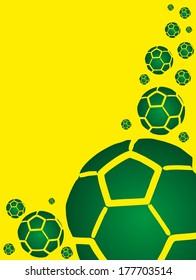 green soccer ball  yellow background vector art