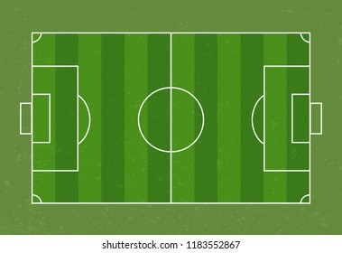 Green Soccer field realistic with lines on it without players vector illustration