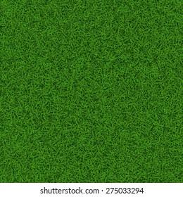 Green soccer grass field seamless texture, vector illustration.