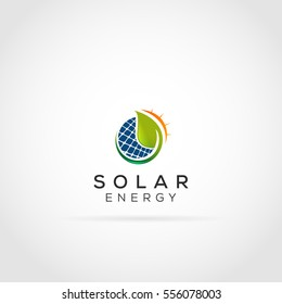 Green Solar Penal and Leaf Energy Logo