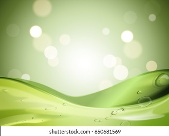 green soothing gel, with cosmetic bottle and aloe vera elements, green blurred background 3d illustration