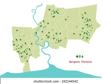 green space in Bangkok, country of Thailand map shape vector