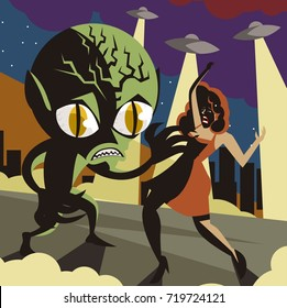 green space invader alien kidnapping a woman