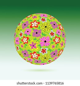 Green sphere with pretty flowers. Optical illusion with 3d effect. Creative design. Bright romantic backgrounds. This image can be used for a greeting card, valentine or the wedding invitation.