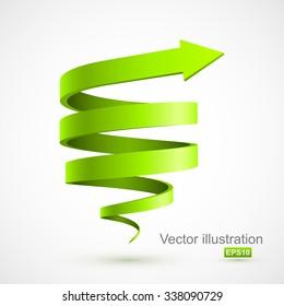 Green spiral arrow 3D.