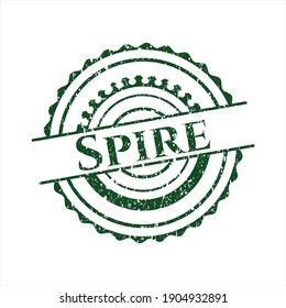Green Spire distressed rubber stamp.