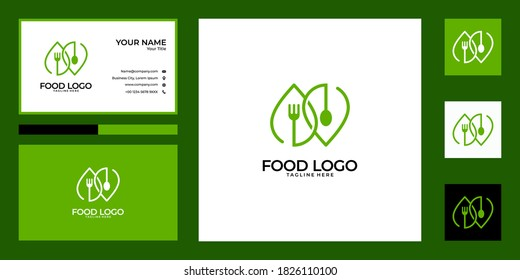 green spoon and fork logo design and business card. good use for food restaurant logo