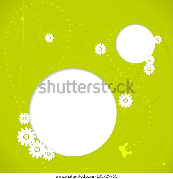 Green spring background with white flowers and butterfly