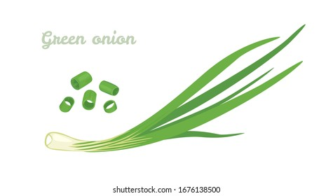 Green spring onions isolated on white background. Vector Chopped chives. Illustration of fresh cut green onion. Icon in cartoon flat style.