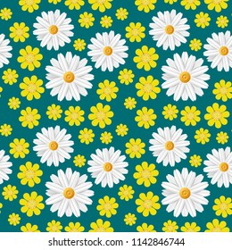 Green spring seamless pattern with light flowers: white camomile and yellow buttercup isolated on dark blue background. Abstract summer floral texture. Vector illustration