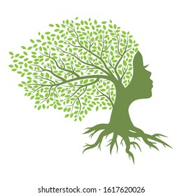 green spring tree with female face and roots on white background, vector