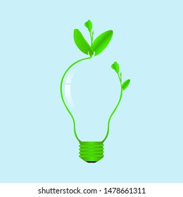 Green sprout growing on light bulb, environmental clean energy ecology concept vector illustration