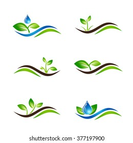 Green Sprout Landscape Agricultural Icon or Logo Design Collection Over White