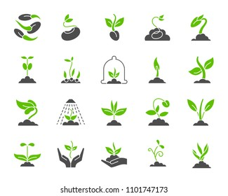 Green sprout silhouette icons set. Isolated on white web sign kit of seeds. Organic plant pictogram collection includes seedling, hand, sapling. Simple sprout symbol. Vector Icon shape for stamp