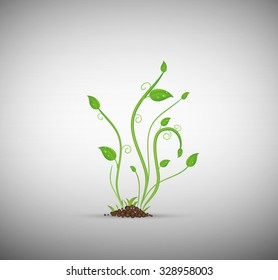green sprout in the soil isolated, vector