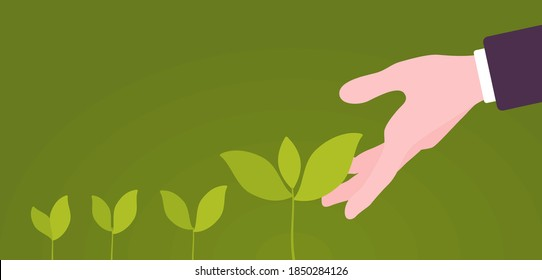 Green sprouts of plant putting out shoots with helping hand. Giving one support to encourage sprouting, growing and life development, resource for beginning. Vector flat style cartoon illustration