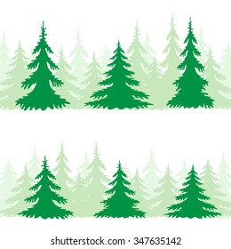The green spruce silhouette set on the white background