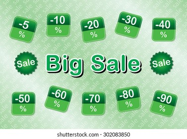 Green Square Big Sale tags with Sale up to five nine percent text. Discount labels. Vector