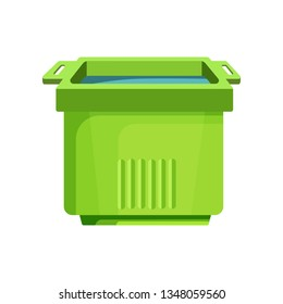 Green square bucket illustration. Basket, home, cleaning. Houseware concept. Vector illustration can be used for topics like home, cleaning, houseware