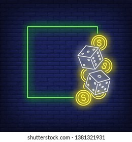Green square frame neon sign. Dices, chips, online casino club design. Vector illustration in neon style for gambling templates, blackjack, light banners and billboards