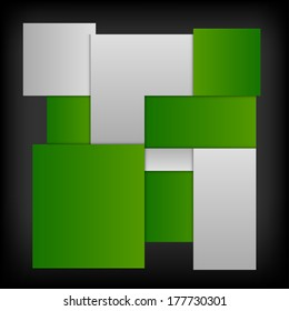 Green squares in the gray space - vector layout. Version without sample text.