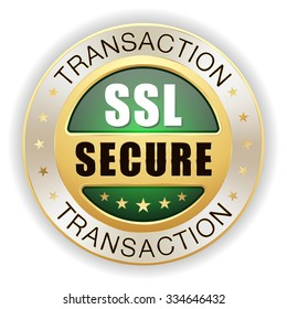 Green ssl secure transaction badge with gold border